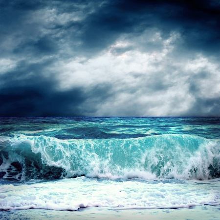 dramatic sky: View of storm seascape Stock Photo