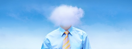Hasppiness businessman under blue sky with clouds Stock Photo - 11915686