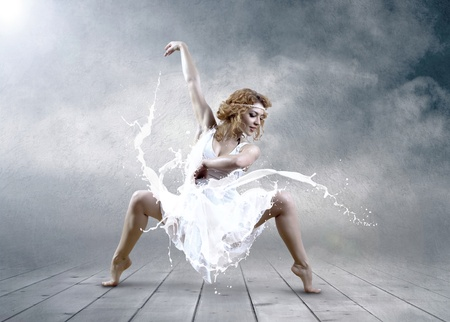 Dance of ballerina with dress of milk Stock Photo - 11988883