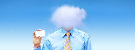 Hasppiness businessman under blue sky with clouds Stock Photo - 12035175