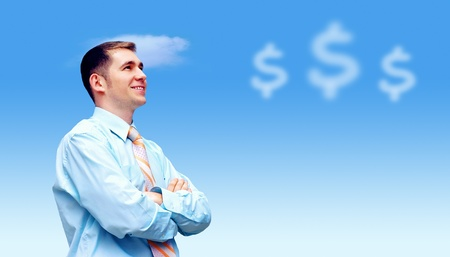 Happiness businessman under blue sky with clouds Stock Photo - 12340373