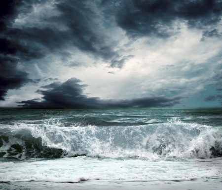storm clouds: View of storm seascape Stock Photo
