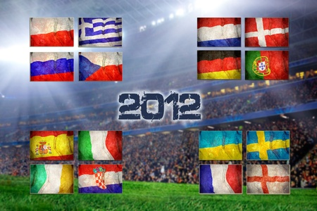 Group of UEFA EURO Championship on the Grunge football field texture background Stock Photo - 13251381