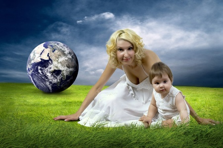 Happiness Baby girl sitting on the grass in field Stock Photo - 13277480