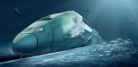 Motions train in underwater ocean life photo