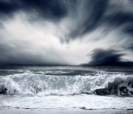 moody background: View of storm seascape Stock Photo