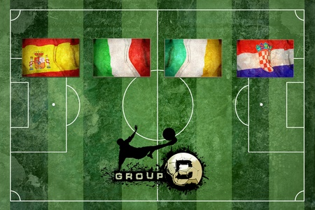 Group of UEFA EURO Championship on the Grunge football field texture background photo