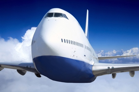 supersonic transport: Airplane at fly on the sky with clouds Stock Photo