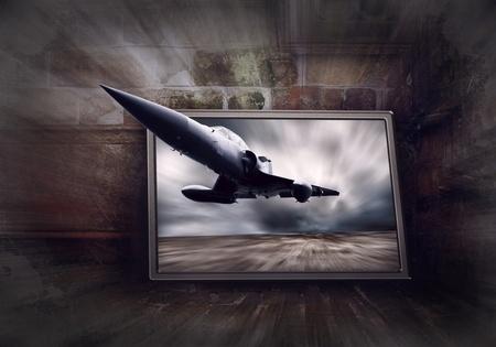 avion de chasse: Avion militaire sur la vitesse, fond de grunge