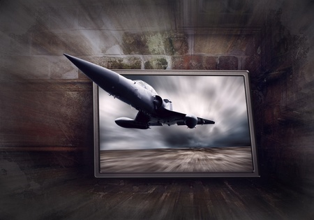 Military airplane on the speed, grunge background photo