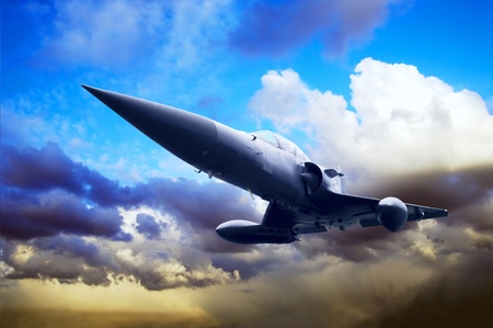 Military airplan on the speed Stock Photo - 13568654