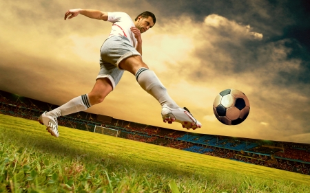 Happiness football player on field of sports competition stadium on sunrise sky Stock Photo