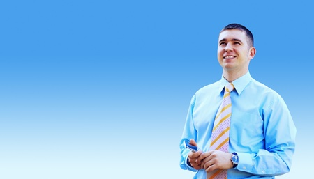 Hasppiness businessman under blue sky with clouds Stock Photo - 13658515
