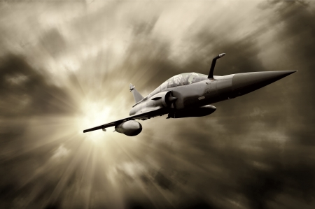 jet fighter: Military airplan on the speed