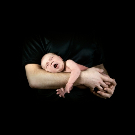 babies hands: Newborn baby on the fathers hands