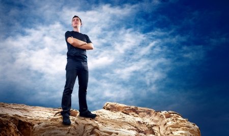 Man on the top of mountain. photo