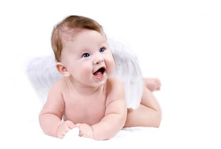 angeles bebe: La felicidad ángel bebé en el fondo blanco Foto de archivo