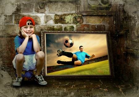 soccerball: Abstract image of football player on the grunge background Stock Photo
