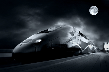 railway engine: High-speed train with motion blur outdoor
