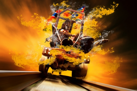 metall: Demon on traine in fire flames oo the speed Stock Photo