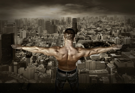 Man stay on the roof of skyscraper Stock Photo - 15901037
