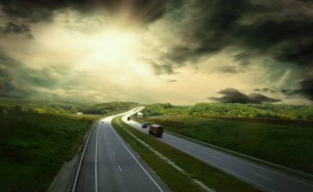 non urban scene: Beautiful view on the road under sky with clouds Stock Photo