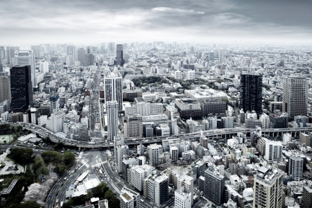 architectural styles: City view of skyscarpers