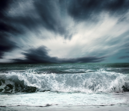 tsunami wave: View of storm seascape Stock Photo