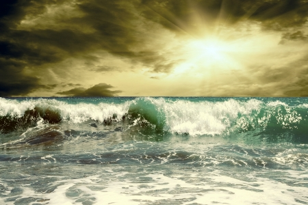 breaking waves: Beautiful View of seascape Stock Photo