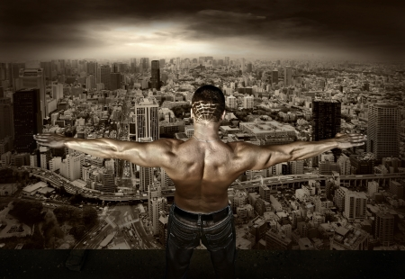 Man stay on the roof of skyscraper Stock Photo - 16669731