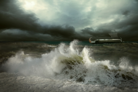 stormy sea: View of storm seascape with historical ship