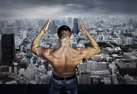 Man stay on the roof of skyscraper Stock Photo - 17336507