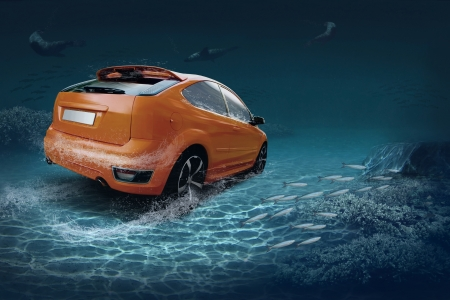 Motions car in underwater ocean life photo
