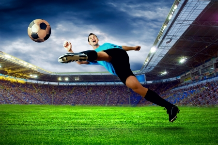 Football player on field of stadium Stock Photo - 17362574