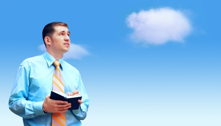 Hasppiness businessman under blue sky with clouds Stock Photo - 17474778