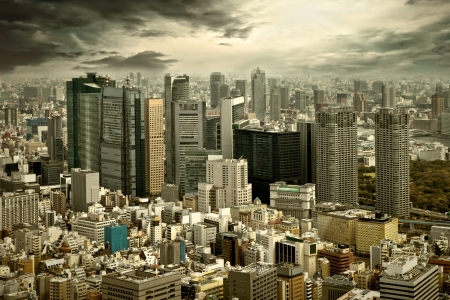 futuristic city: City view of skyscarpers