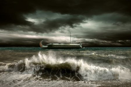 wind storm: View of storm seascape with historical ship