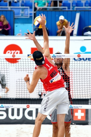 beach volleyball: PRAGUE - JUNE 19: Rogers & Dalhausser team compete at SWATCH FIVB World Tour 2010 June 19, 2010 Prague