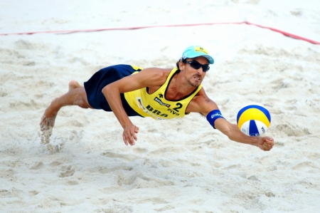 beach volleyball: PRAGUE - JUNE 18: Alison & Emanuel team compete at SWATCH FIVB World Tour 2010 June 18, 2010 Prague