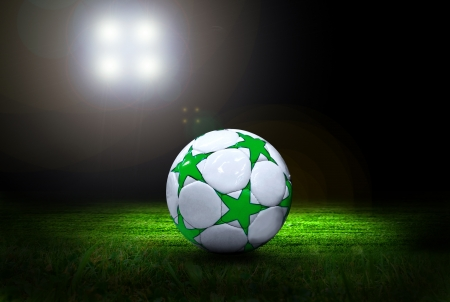 Soccer ball on the field of stadium with light Stock Photo - 18007309