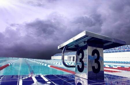 waterpool: Open sport waterpool with sky Stock Photo