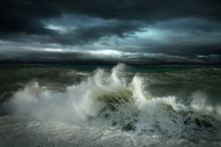 storm sea: View of storm seascape Stock Photo