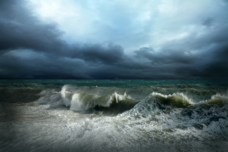 dark cloud: View of storm seascape Stock Photo