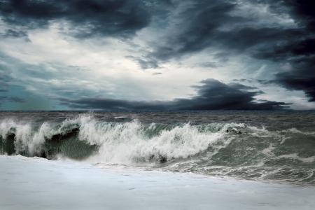 tsunami: View of storm seascape Stock Photo