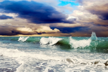 stormy sea: Beautiful View of seascape Stock Photo