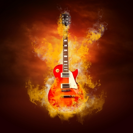 red devil: Rock guitar in flames of fire