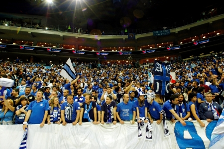 grandstand: PRAGUE, CZECH REPUBLIC - APRIL 5: Iraklis team supporters watch the volleyball game of Final Four CEV Indesit Champions League at O2 Arena in Prague. April 5, 2009