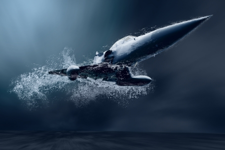 avion de chasse: Avion militaire de vol sous l'eau