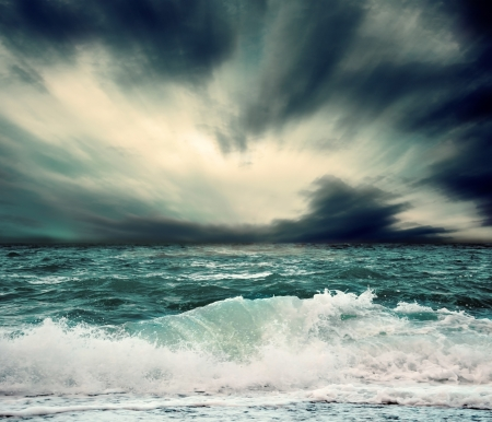 dark clouds: View of storm seascape Stock Photo