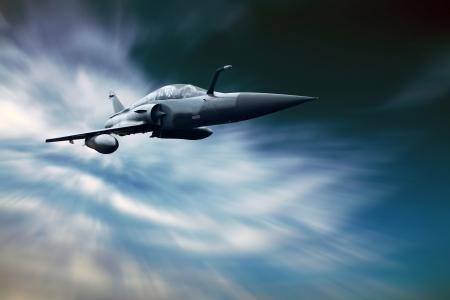 force: Military airplan on the speed in the sky